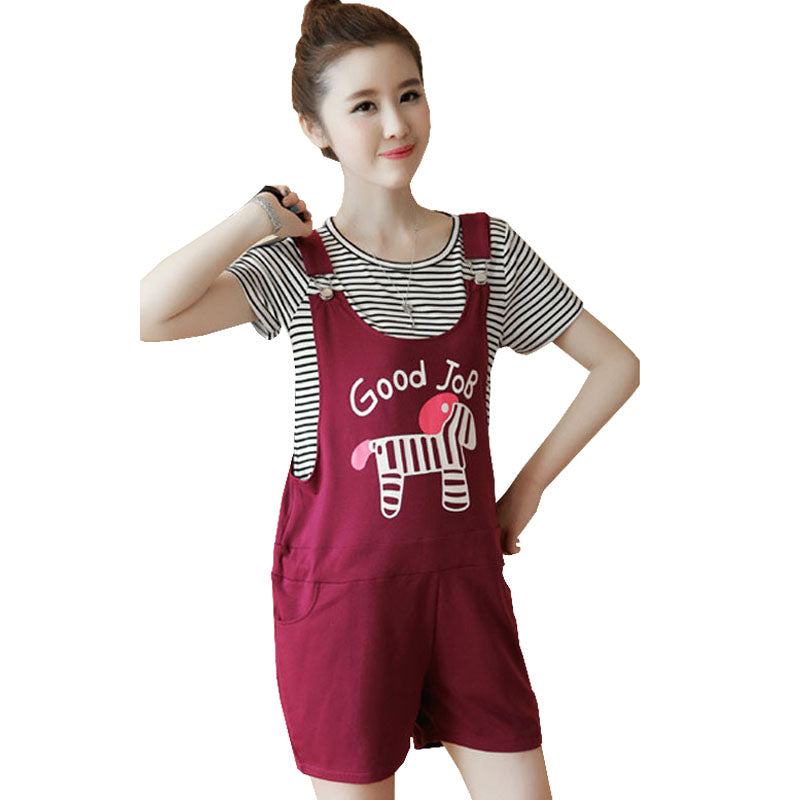 2e6261ad4511f Cartoon Maternity Overalls Braced Straps Shorts Tops Suit Sets For Pregnant  Women Clothes Pregnancy Bibs Work ...