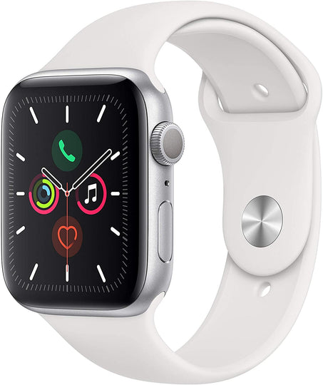 44MM Apple Watch SE Space Grey Aluminum Case - White Sport Band