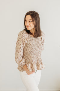 Natural Floral Smocked Blouse