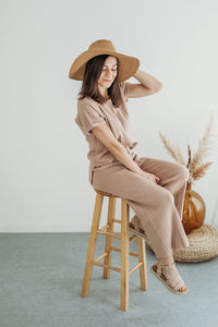Tan Two Piece Sweater Set
