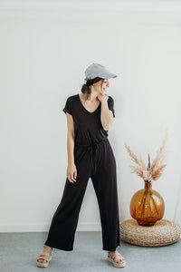 Black Ribbed Jersey Romper