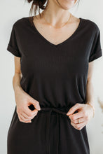 Load image into Gallery viewer, Black Ribbed Jersey Romper