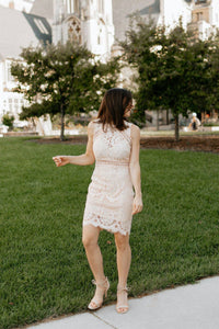 Champagne Pink Lace Sleeveless Dress with Round Hem -The Robyn