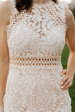Load image into Gallery viewer, Champagne Pink Lace Sleeveless Dress with Round Hem -The Robyn