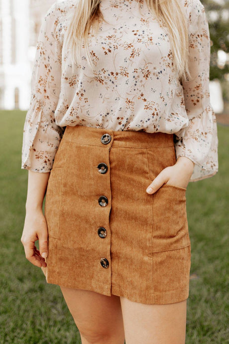 Camel Corduroy Mini Skirt - The Toni