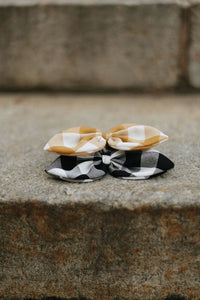Butterscotch Gingham Bow Scrunchie