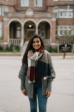 Load image into Gallery viewer, Navy/Burgundy Waffle Knit Blanket Scarf