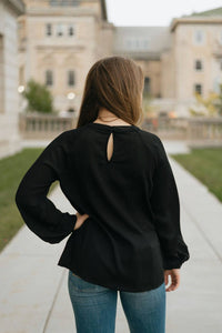 Black Ruched Waist Blouse - The Ella