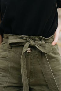 Olive High Waist Pants with Tie - The Maric Pants