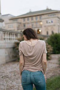Softest Beige V Neck Basic Tee with Pocket - The Althea