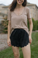 Load image into Gallery viewer, Black Satin Scallop Hem Shorts - Brave Woman Shorts