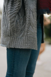 Grey Loose Fit Cable Knit Cardigan - The Ronda