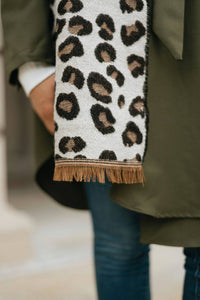 Camel Leopard Print Scarf