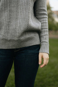Grey Ruffle Neck Knit Sweater - The Rosalind
