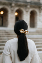 Load image into Gallery viewer, Butterscotch Gingham Bow Scrunchie