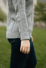 Load image into Gallery viewer, Grey Ruffle Neck Knit Sweater - The Rosalind