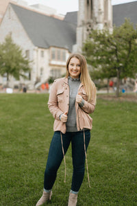 Blush Drawstring Cargo Jacket - The Angela