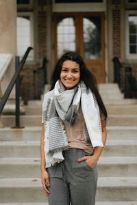 Grey/Beige Textured Blanket Scarf