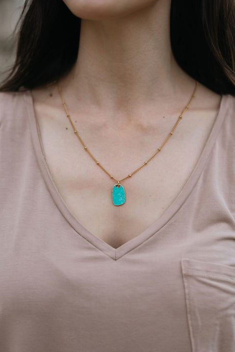 Lillian Teal Coin Necklace