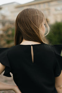 Black Flutter Sleeve Top - The Sharmila