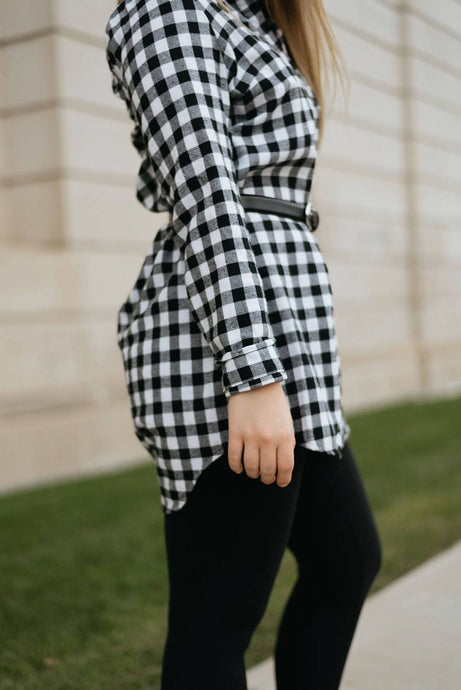 Gingham Black and White Button-up Checkered Shirt Dress - The Anna