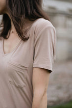 Load image into Gallery viewer, Softest Beige V Neck Basic Tee with Pocket - The Althea