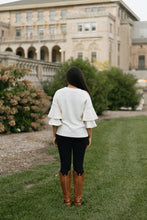 Load image into Gallery viewer, Cream Ruffle Sleeve Knit Sweater - The Brent