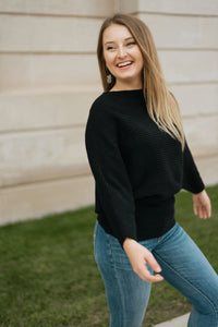 Black Ribbed Boat Neck Sweater - The Shelley