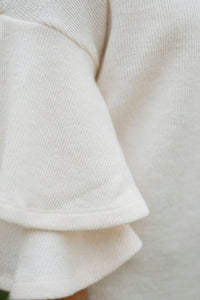 Cream Ruffle Sleeve Knit Sweater - The Brent