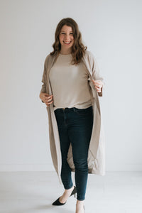 Beige Duster Cardigan with Pockets - The Edith