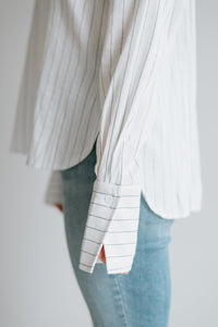 Pinstripe Woven Shirt with Collar -  The Zooey