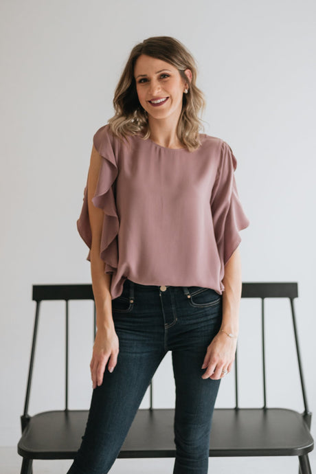 Mauve Ruffle Sleeved Blouse- The Mariah