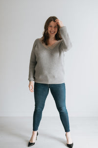 Solid Knit Ribbed Sweater with Lace V-neck - The Winslet