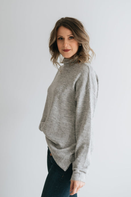 Funnel Neck Drop Sleeve Knit, Grey - The Rosemary