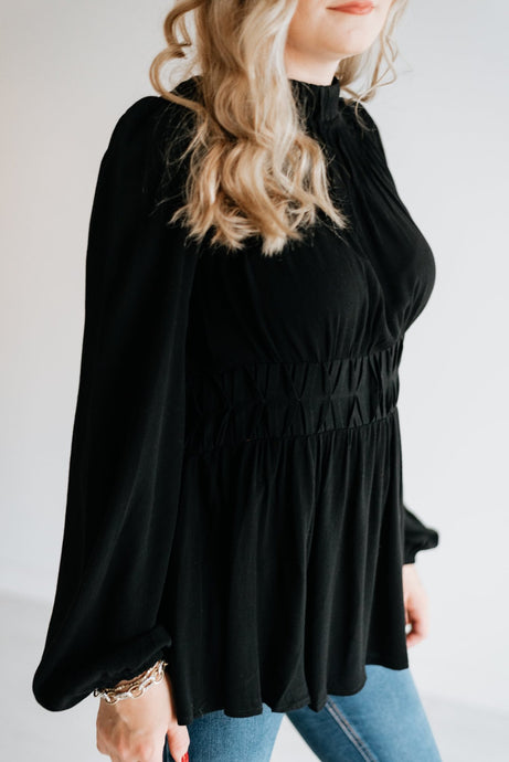 Black High-Neck Pleated Peplum Blouse- The Doyne