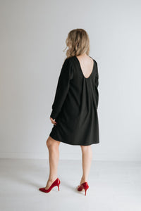 Scoop Back Shift Dress, Black - The Lorraine