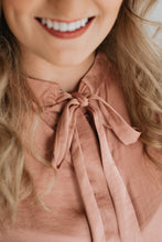 Load image into Gallery viewer, Mauve Satin Blouse with Tie - The Christine