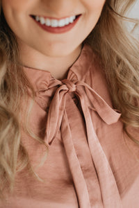 Mauve Satin Blouse with Tie - The Christine