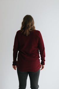 Burgundy Waffle Knit Top with Twisted Knot - The Iliza