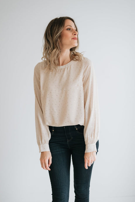 Light Blush Chiffon Top with Gold Specks - The Olympia