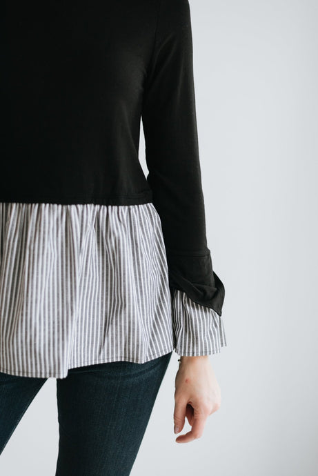 Solid Black Top with Stripe Contrast Peplum - The Taylor