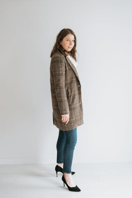 Brown Checked Blazer Coat w/Button Closure - The Ramona