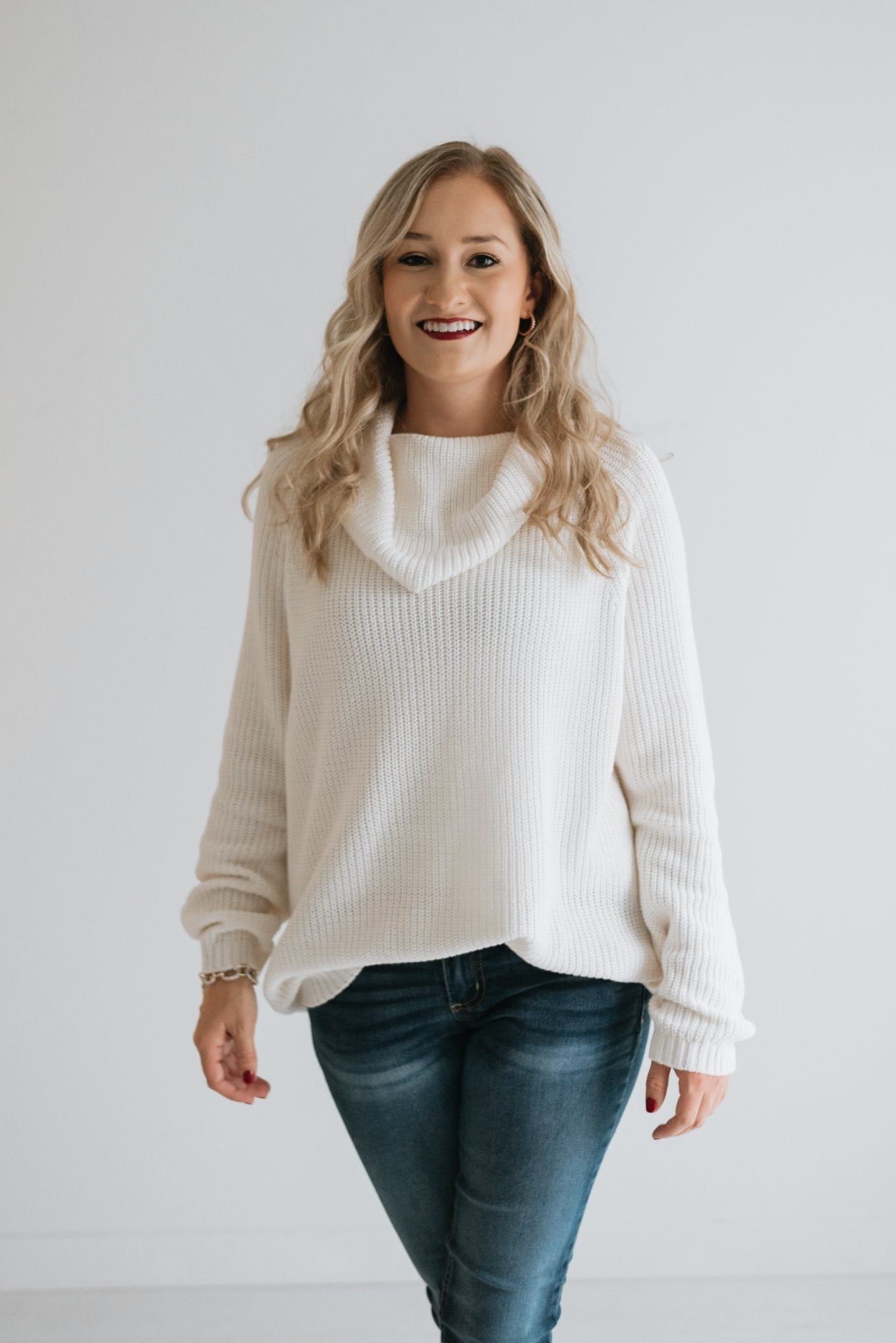 Cream Cowl Neck Sweater - The Bernice