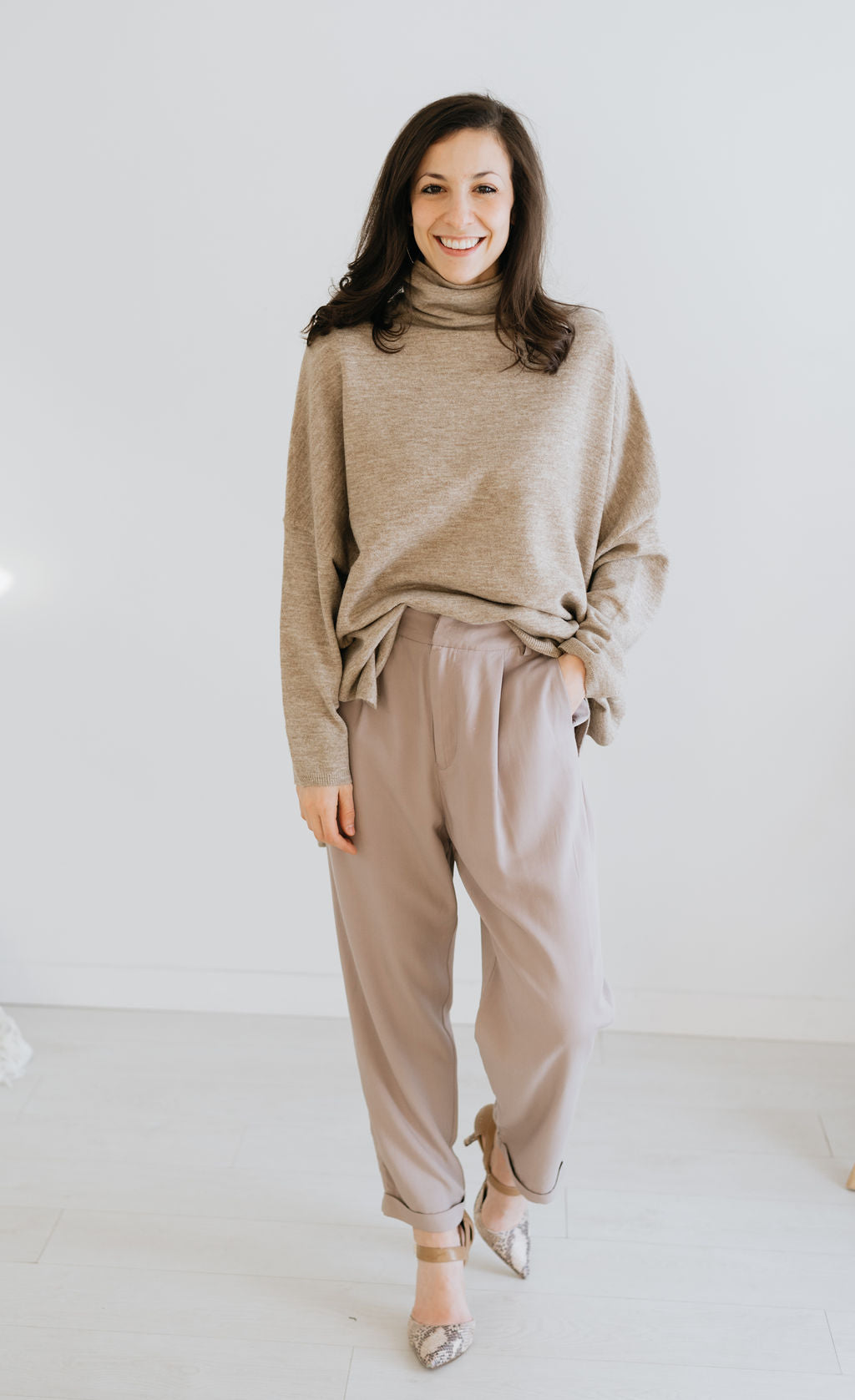 Taupe Cuffed Slouch Trouser