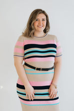Load image into Gallery viewer, Striped Short Sleeve Ribbed Dress