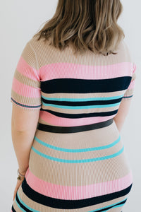Striped Short Sleeve Ribbed Dress