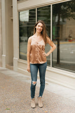 Load image into Gallery viewer, Mocha Satin Tank with Scallop Neckline & Fabric Covered Buttons - The Dorothea