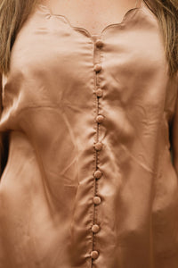 Mocha Satin Tank with Scallop Neckline & Fabric Covered Buttons - The Dorothea
