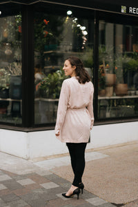 Blush Pink Tie Waist Trench w/Pockets - The Alice