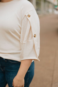 Cream Knit Top w/Button Detail on Sleeve - The Cady